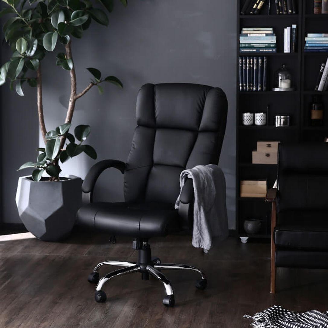 オフィスチェア(アイボリー/ブラック)プレミアムな通称社長椅子 ...