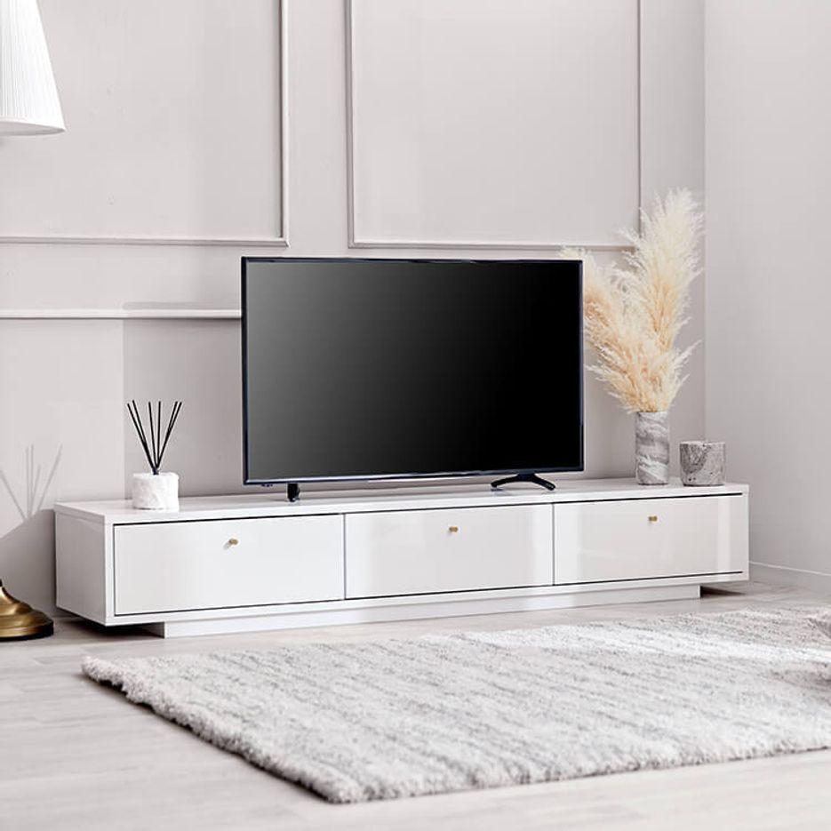 [幅180]テレビ台 テレビボード ホワイト 真鍮 ローボード ナチュラル モダン 引き出し タップ収納 半完成品 日本製