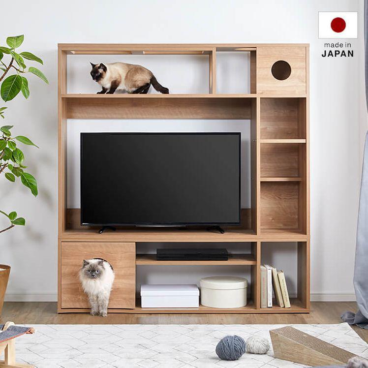 壁面収納テレビ台 キャットウォーク アクリル天板使用 [150]