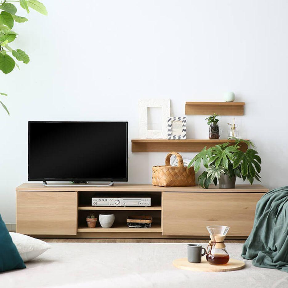 [幅180] 日本製 ローテレビ台(ブラウン/ナチュラル/ホワイト/シャビーナチュラル)49V型対応 木製 フラットデザイン 半完成品