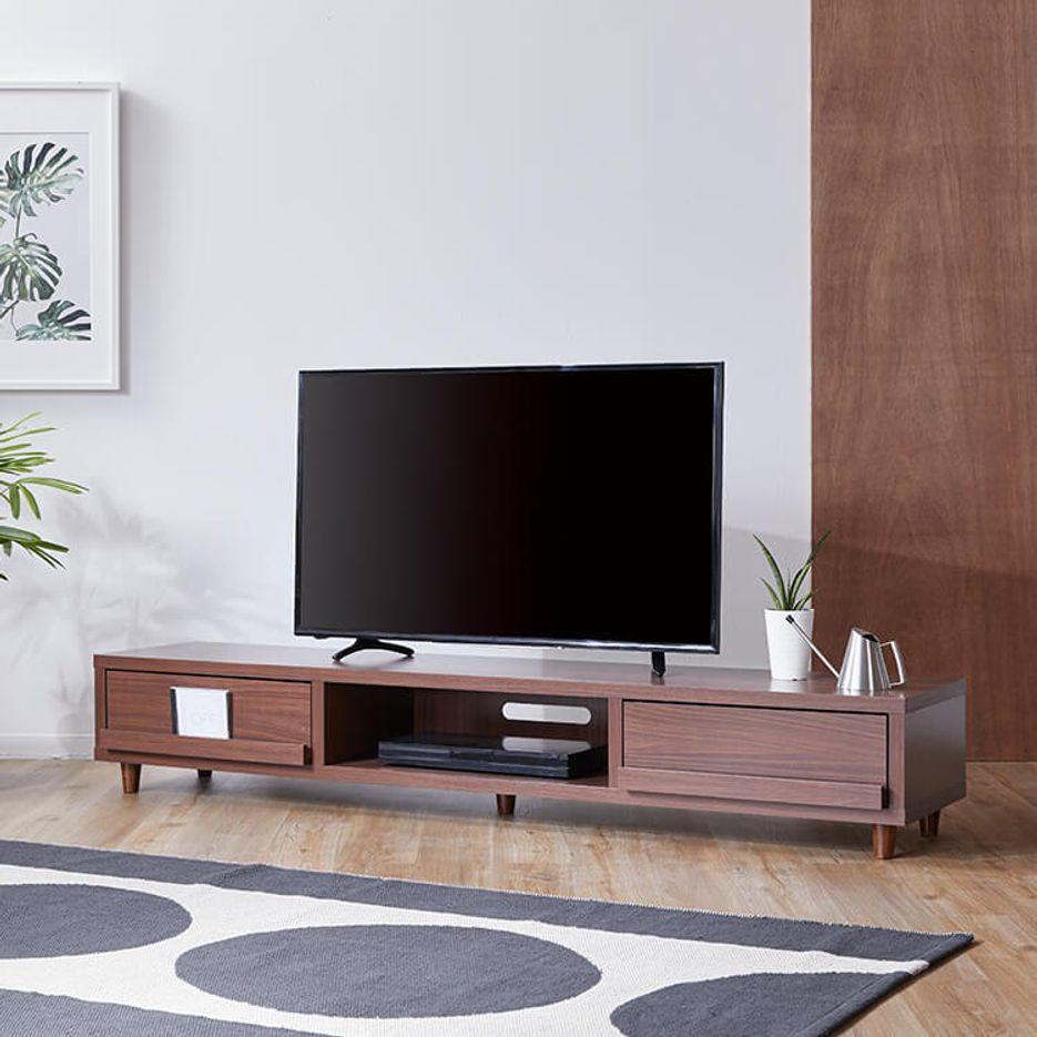 贅沢ロングサイズで52v型テレビまで対応ディスプレイ付きテレビ台 [幅180]