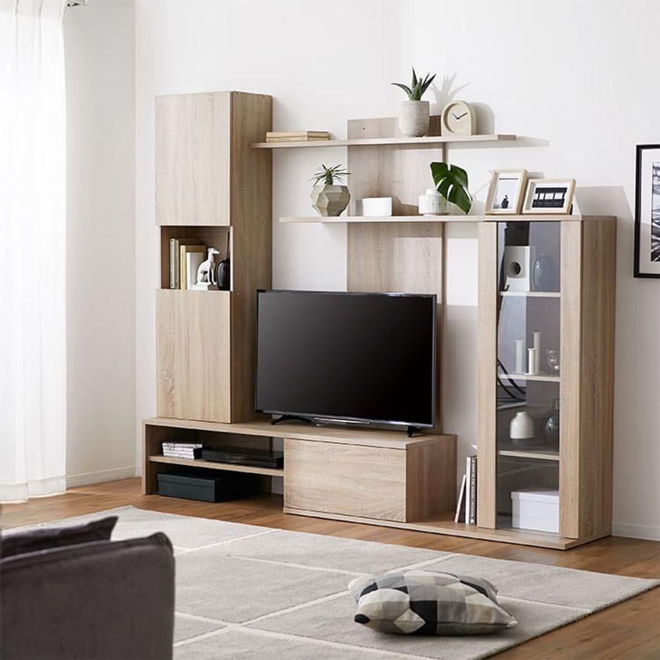[幅220] 壁面収納付テレビ台(ナチュラル)50V型対応 木製 スパニッシュモダン