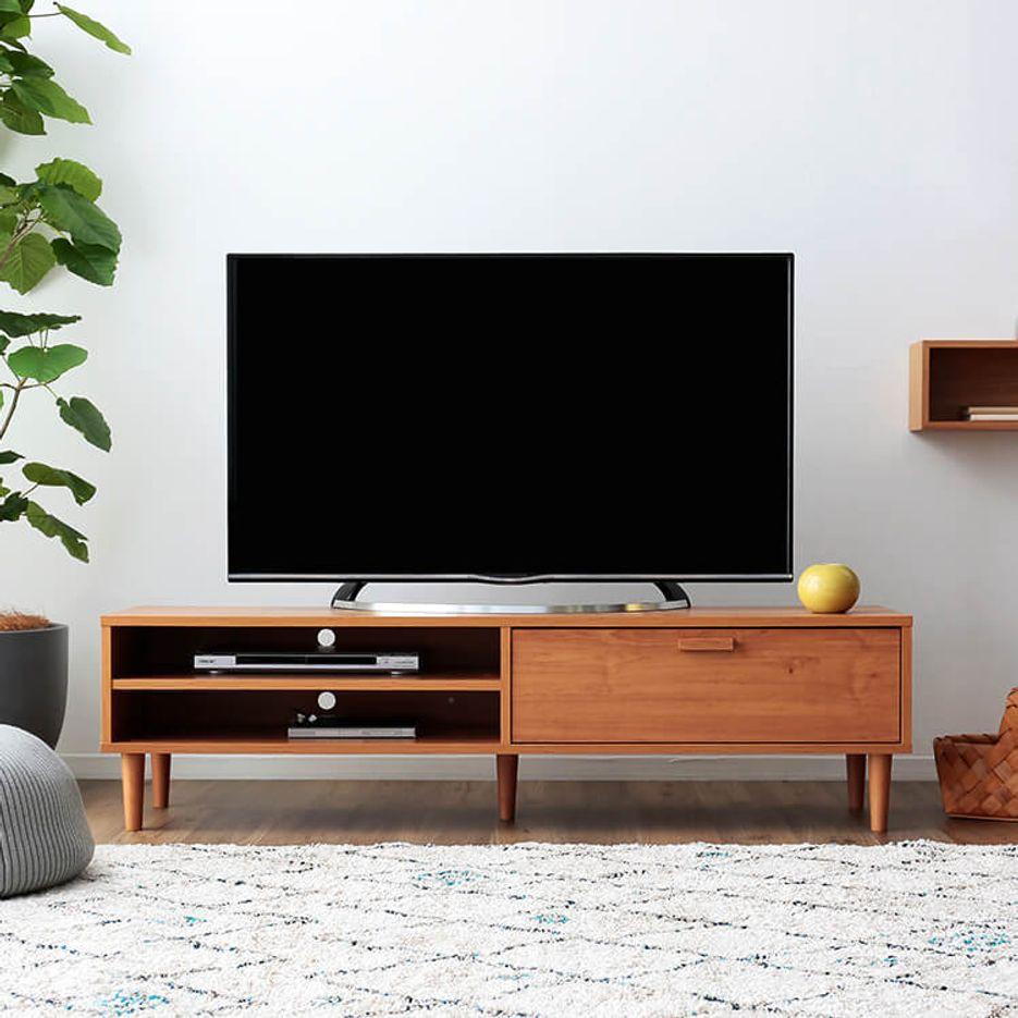 ローテレビ台 49V型対応 木製 北欧ヴィンテージ調 [幅150]