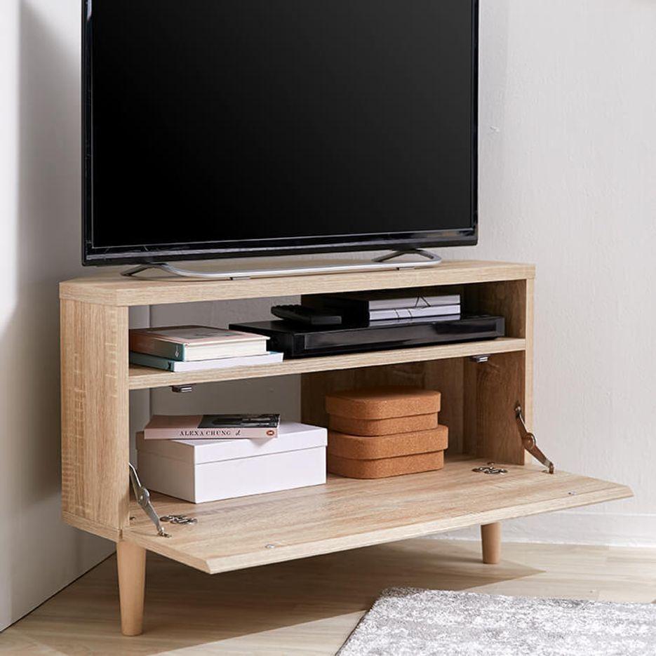 [幅79.5] コーナーテレビ台(ブラウン/ナチュラル)32V型対応 木製 収納付