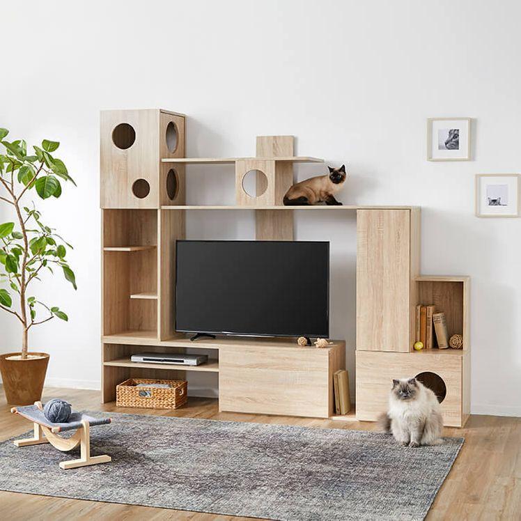 壁面収納テレビ台 左右両側昇降可能 木製 キャットタワー一体型 [幅220]